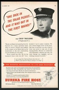 1949 Englewood New Jersey Fire Chief photo Eureka Fire Hose vintage print ad