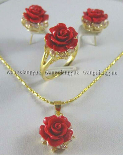 12MM Red Coral Hand Carved Flower Earrings Ring Necklace Pendant Jewelry Set AAA