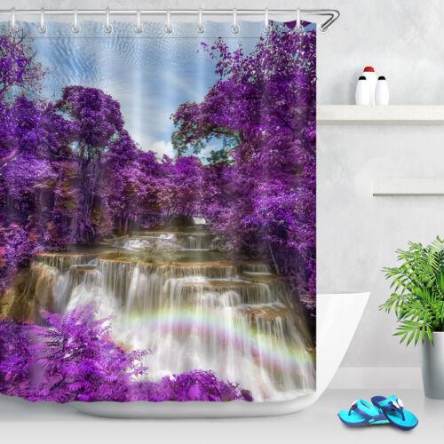 Purple Forest Waterfall Rainbow Waterproof Fabric Shower Curtain Set Bathroom