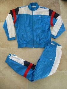 Survetement-ADIDAS-Trefoil-vintage-90-039-s-tracksuit-oldschool-nylon-bleu-France-M