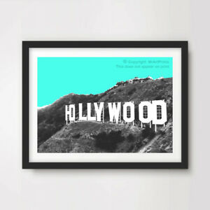 Image Is Loading HOLLYWOOD SIGN POP ART PRINT Poster Green Home
