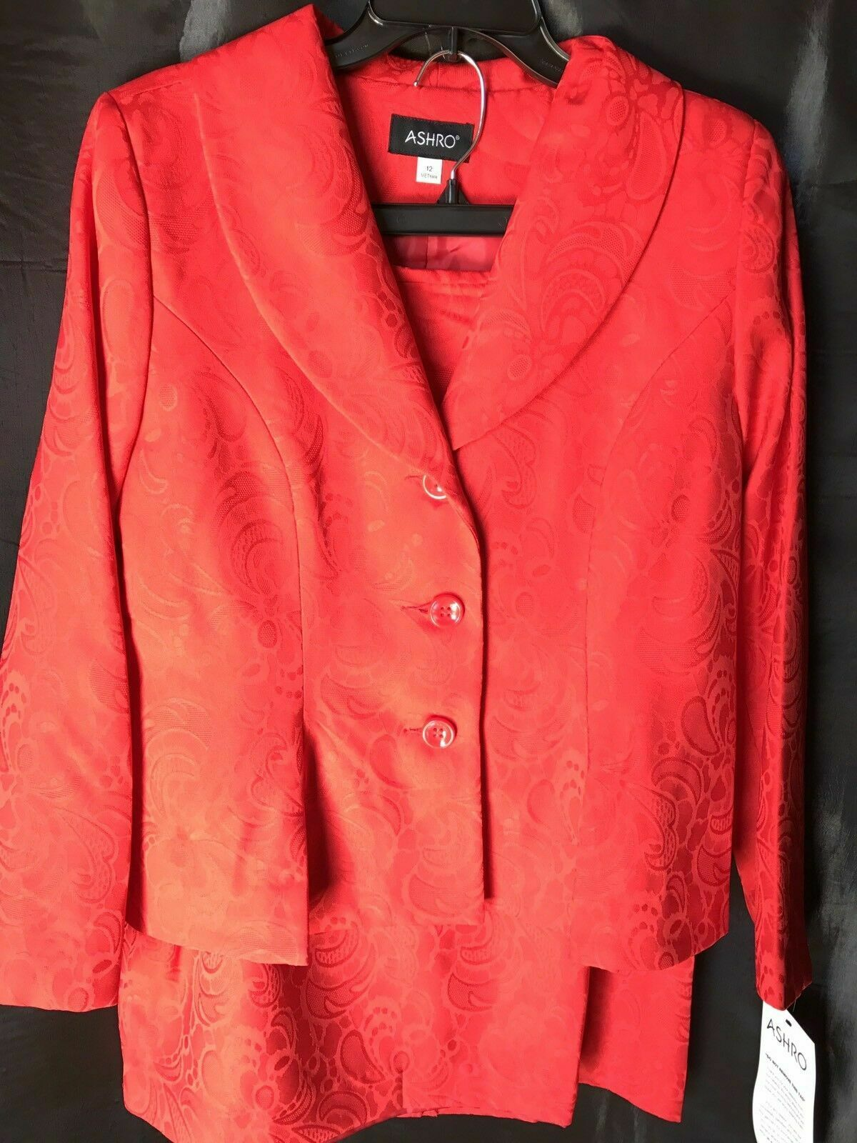 plus size 24W Red Brocade Skirt Suit by Ashro new