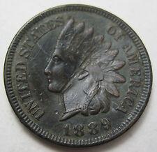 1889 Indian Head penny grades AU bent (#68a)