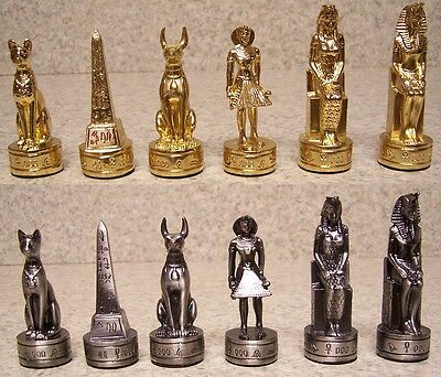 Chess Set Pieces pewter Ancient Egypt NEW