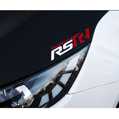 Roadruns Front Logo Sticker RS-TYPE White & Red For All Universal Vehicles