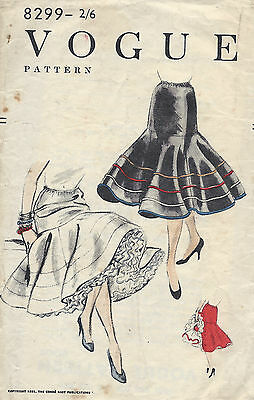 1955 Vintage VOGUE Sewing Pattern W24-30 SKIRT PETTICOAT ELASTIC WAIST (1252)