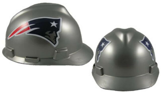 8c28f530 NFL England Patriots Hard Hat MSA Safety Works Construction Cap Ratchet Gear