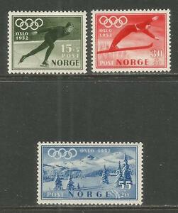 Norway 1951 Winter Olympics semipostal--Attractive Sports Topical (B50-52) MH