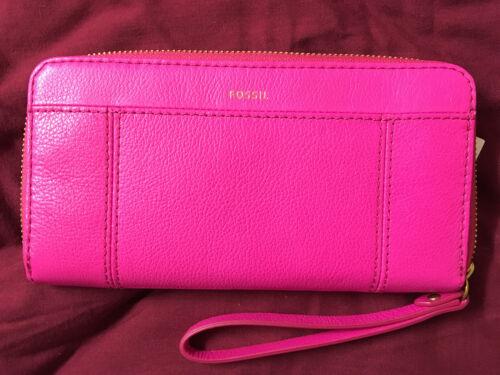 NWT Fossil Jori Pink Leather Wristlet Ziparound Clutch 25/% off your next order*