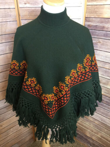 Orange Geyik Trim Mock Neck Poncho Fringe Sweater Grøn Strik Cift Uld Print 5Uvq5nd