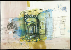 Gaudiprojektion-V-1998-Mischtechnik-Thomas-LANGE-1957-D-handsigniert