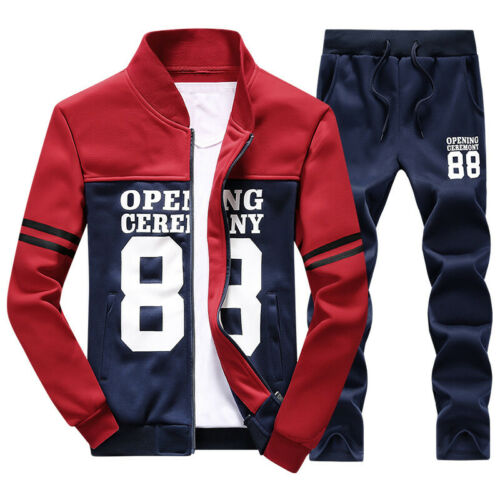New Men 2Pcs//set Print Sweat Tracksuit Outwear Sports Suit Tops Pants Fashion