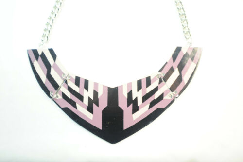 PINK AND GOLD ZIGZAG STATEMENT NECKLACE CL12 WOMEN/'S COLOUR BLOCKING BLACK