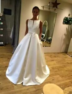 UK-Sleeveless-White-ivory-Bridal-Satin-A-Line-Simple-Wedding-Dresses-Size-6-18