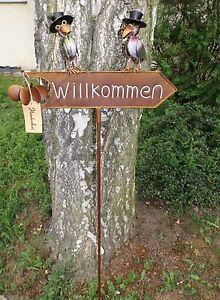 Gartenstecker-Willkommen-Schild-Windrad-Metall-Voegel-Rabe