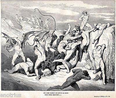 INFERNO:PUNIZIONE X RUFFIANI E SEDUTTORI.Gustave Doré.Dante.Divina Commedia.1880