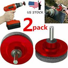 US 2x Lawn Mower Faster Blade Sharpener Garden Grinding for Power//Hand Drill Kit