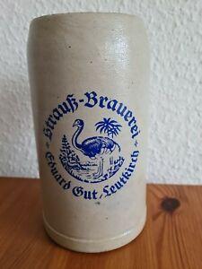 Bierkrug 1l Strauß-Brauerei Leutkirch.