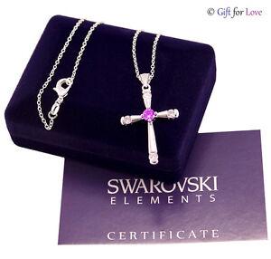 Collana argento Swarovski Elements originale cristalli croce crocifisso rosario