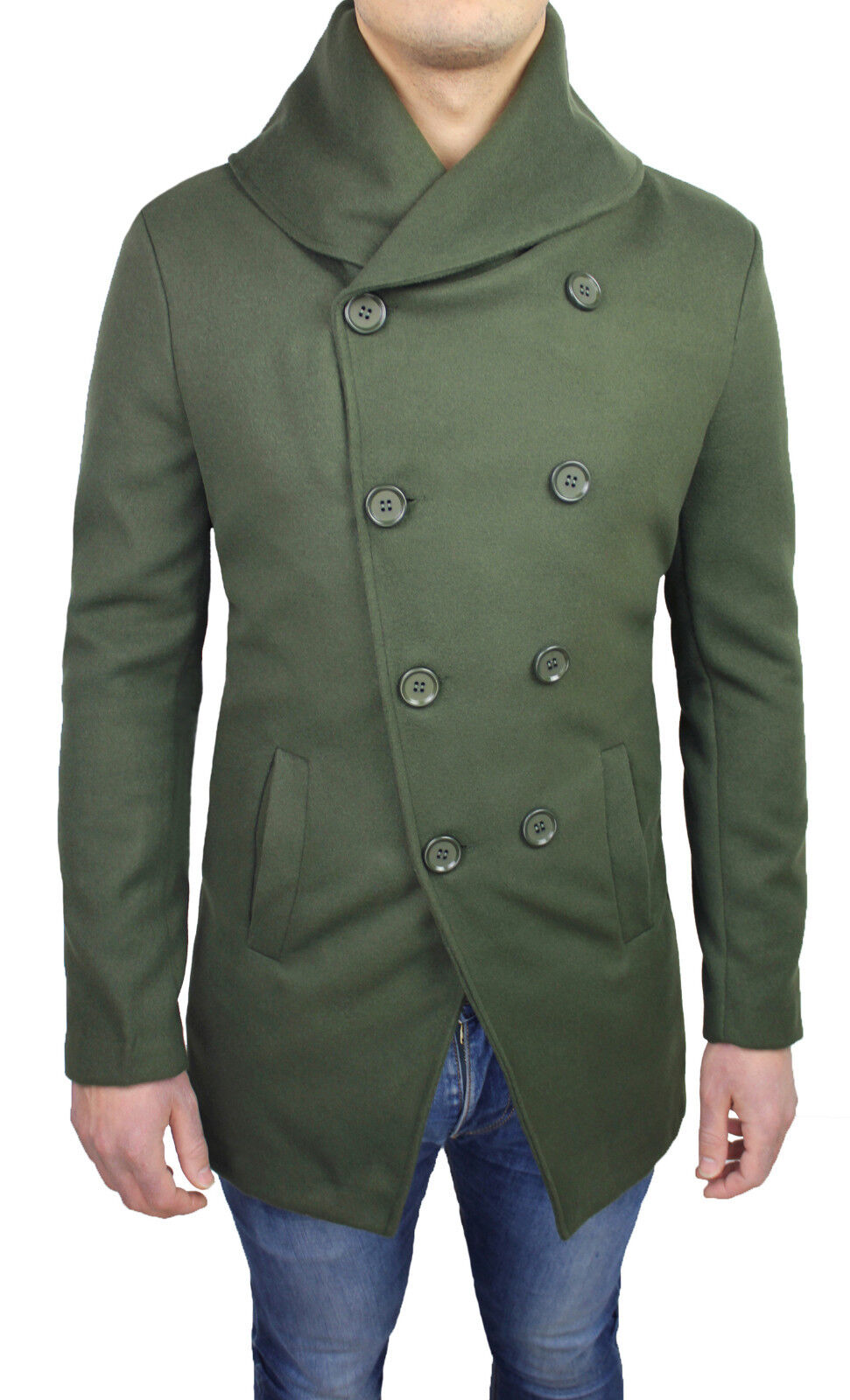 COAT MAN DIAMOND GREEN PARKA WINTER DOUBLE-BREASTED NEW SMART CASUAL