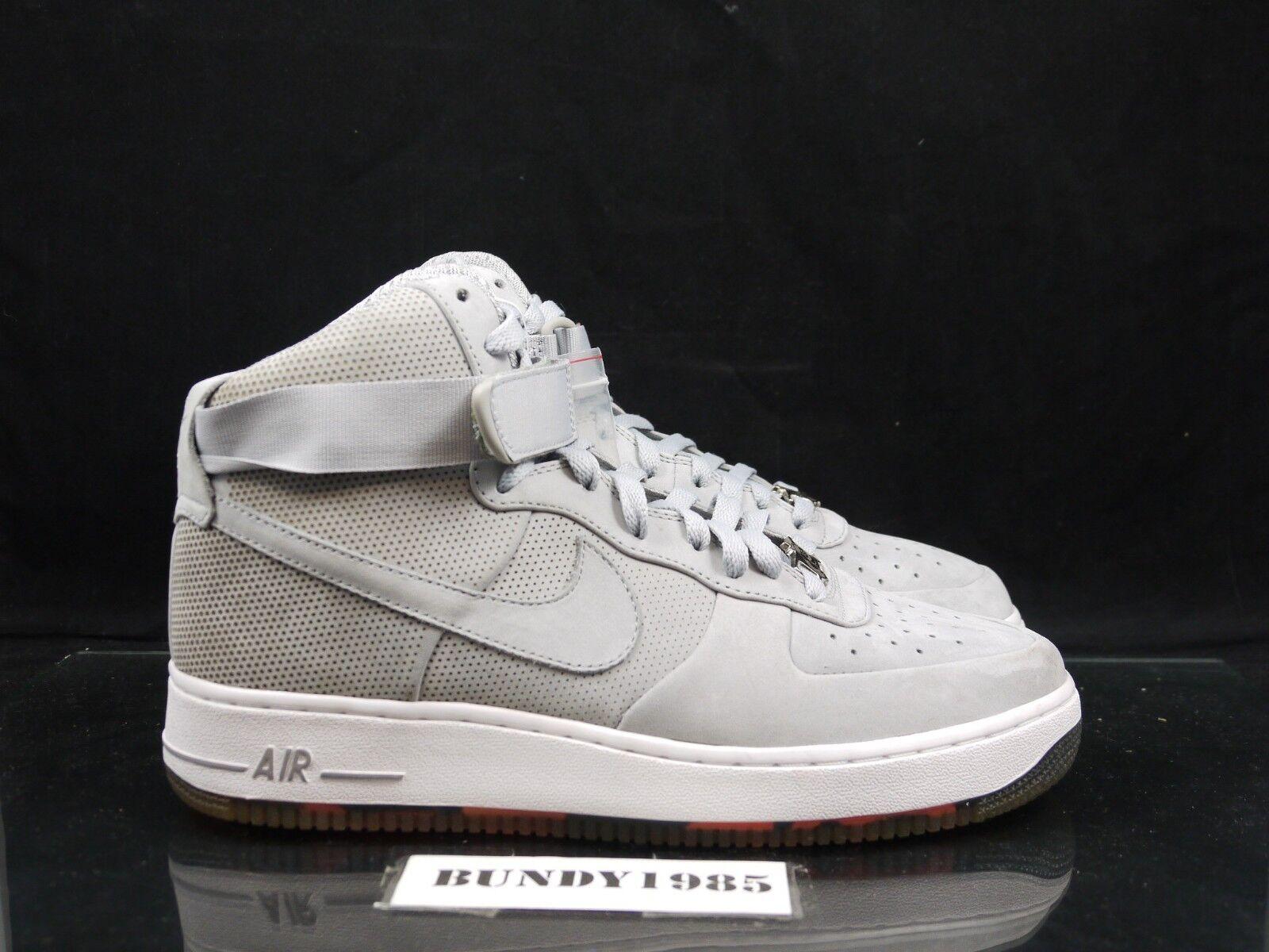 345189 001 Nike Air Force 1 High Strap Supreme Futura Grey Men's SZ 9 jordan P
