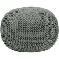 Round Knit Pouf Ottoman Pouffe Footstool Foot Stool Poof Floor Cover Decor Seat