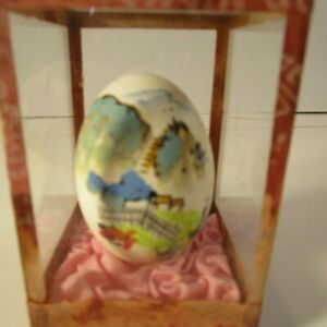 Vintage-Asian-Hand-Painted-Egg-with-Glass-Display-Case-BEAUTIFUL