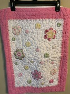 Pottery Barn Kids Quilted Floral Standard Pillow Sham Pink