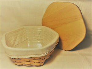 LONGABERGER-8-034-Generations-Basket-Combo-Liner-Protector-and-Wood-Lid-2001-EUC