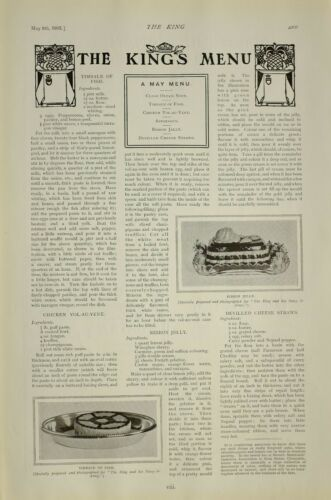 1903 PRINT KINGS MENU RECIPE TIMBALE OF FISH RIBBON JELLY