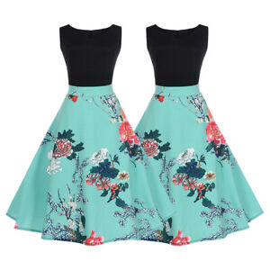Women-Retro-50s-Vintage-Floral-Sleeveless-Rockabilly-Cocktail-Party-Pinup-Dress