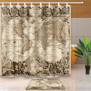 Image Is Loading 71x71 Inch Old World Map Sailing Route Bathroom