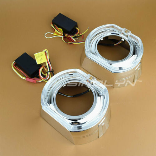 Square LED Angel Eyes Bezel Shroud Switchback Turn Signal For 3.0 Projector Lens
