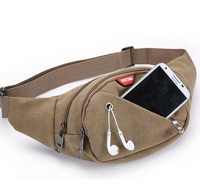 Canvas Mens Travel Waist Bag Fanny Pack Waist Pack Phone Pouch Belt Bag Bum Bag