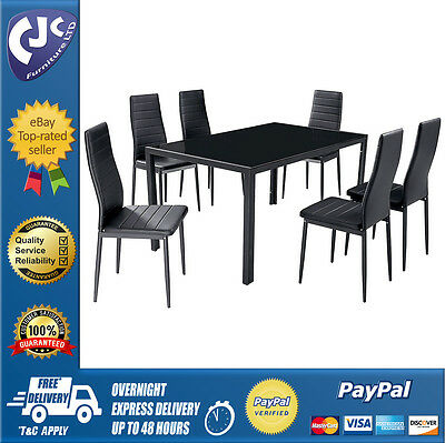 Dining Kitchen Set Table with 6 Chairs Tempered Glass Black Upholstered