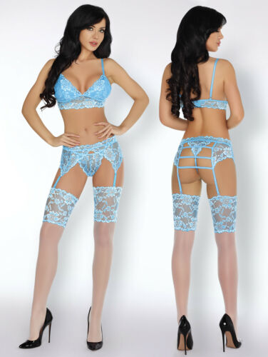 Stockings and Thong Set Suspender Belt LIVCO CORSETTI Acarin Luxury Bra