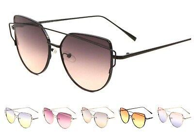 Cat Eye Sunglasses Double Crossbar Oceanic Color Lens