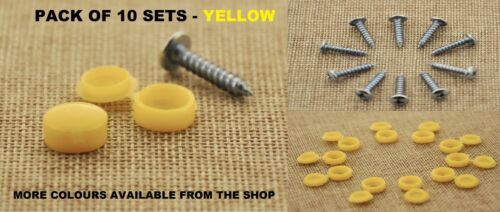 JEEP SELF TAPPING YELLOW CAPS AND SCREWS CAR NUMBER PLATE FITTING KIT