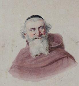 Antique-Watercolour-Representative-Un-Monk-Franciscan-Paris-Jules-Old-Man
