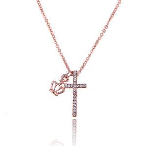 Goldkette-18K-Damen-Halskette-mit-Anhaenger-vergoldet-Kreuz-Frauen-Kette-Kirche