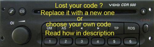 reemplace el código o su propio código Código para Cdr 500 VDO consulte la descripción de cómo