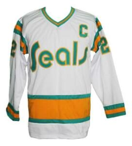 Any-Name-Number-Size-California-Seals-Retro-Custom-Hockey-Jersey-Johnston-White