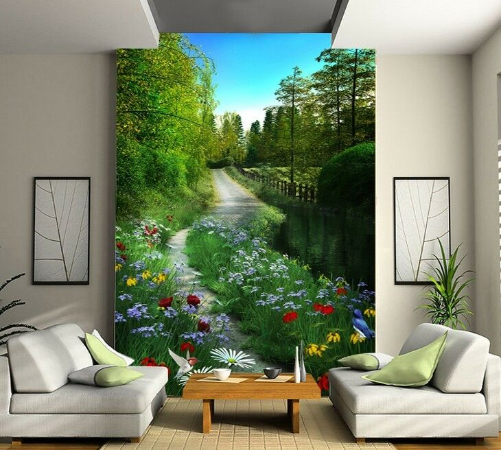 3D Forest Road 1 Wall Paper Wall Print Decal Wall Deco Indoor wall Murals