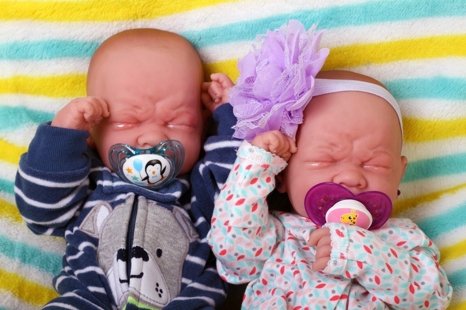 Gemelos De Bebé Niño Niña Muñeca Berenguer 14  viva real Preemie realista de vinilo suave