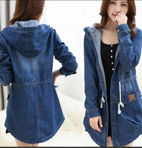 Hot Sale Womens Parka Slim Fit Coat Denim Hooded Casual New Fashion Jacket Size