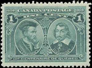 Mint-H-Canada-VF-Scott-97i-1c-HAIRLINES-1908-Quebec-Tercentenary-Issue-Stamp