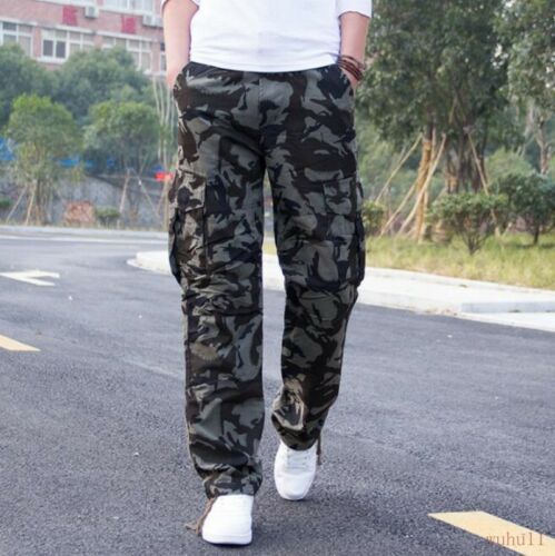 Camo Mens Clothes Cotton Straight Leg Pants Oversize Cargo Trouser Overall Baggy