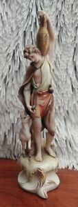 Antonio-Borsato-porcelain-tall-figurine-Young-boy-with-deer-marked