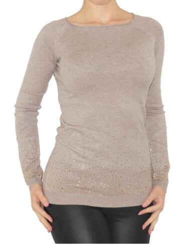 Pullover Glitzer Nieten Top Strick Shirt Bluse Langarm 1506