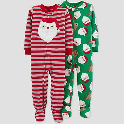 Toddler Boy Christmas Pajamas.2 Pair Toddler Boy Just One You Fleece Footed Santa Reindeer Christmas Pajamas Ebay